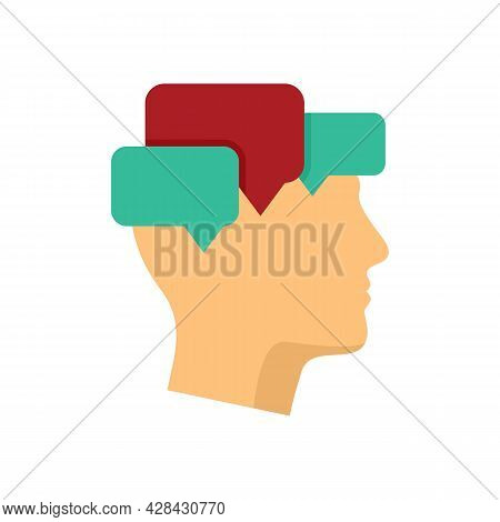 Mind Mental Chats Icon. Flat Illustration Of Mind Mental Chats Vector Icon Isolated On White Backgro