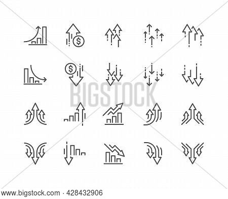 Simple Set Of Increase And Decrease Related Vector Line Icons. Contains Such Icons As Finance Chart,