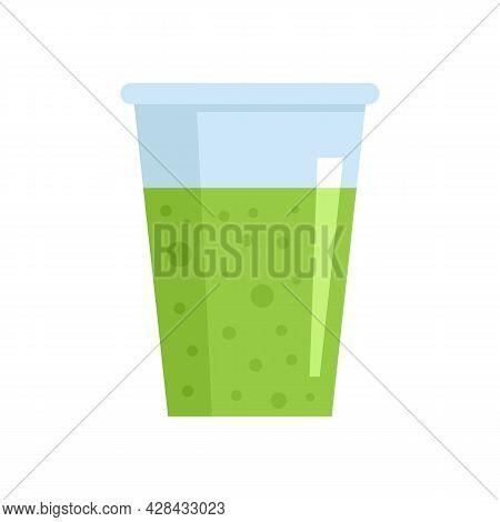 Celery Juice Glass Icon. Flat Illustration Of Celery Juice Glass Vector Icon Isolated On White Backg