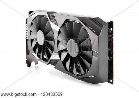 Computer Graphic Card With Two Fans. Video Card With Two Coolers From The Computer. Gpu Card. It Har