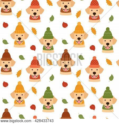 Seamless Pattern With Dogs And Leaves, Vector Illustration