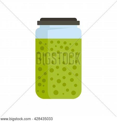 Peas Sauce Jar Icon. Flat Illustration Of Peas Sauce Jar Vector Icon Isolated On White Background