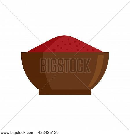 Chili Pepper Bowl Icon. Flat Illustration Of Chili Pepper Bowl Vector Icon Isolated On White Backgro