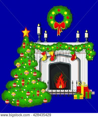 A Classic Fireplace With A Christmas Tree With Socks, A Christmas Wreath, Candles, Gifts And Garland