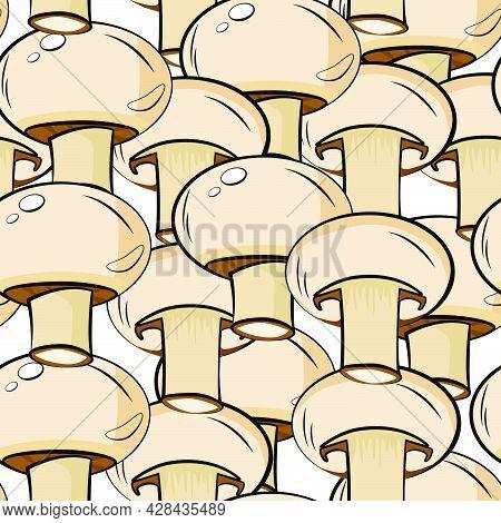 Mushroom Pattern. Seamless Pattern With Mushrooms. Mushroom Champignon. Whole Mushroom And Mushroom