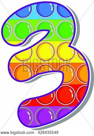 The Number 3.  The Numbers Are Rosy In The Form Of A Popular Childrens Game Pop It. Bright Letters O
