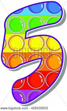 The Number 5.  The Numbers Are Rosy In The Form Of A Popular Childrens Game Pop It. Bright Letters O