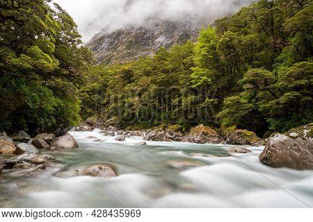 Mountainous Monkey Creek Flowing Through Impressive Landscape Next To Milford Sound Highway, New Zea