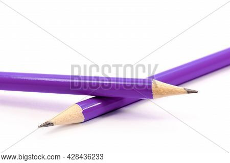 Two Violet Pencils On White Background. Stationery. Office Tool. Back To School.