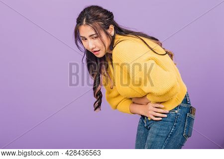 Portrait Of Asian Beautiful Young Woman Has Stomachache, Female Abdominal Pain Suffering From Stomac