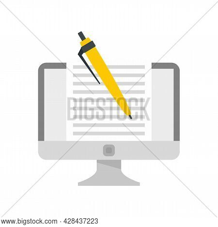 Computer Editor Icon. Flat Illustration Of Computer Editor Vector Icon Isolated On White Background