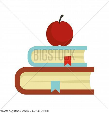 Apple On Book Stack Icon. Flat Illustration Of Apple On Book Stack Vector Icon Isolated On White Bac