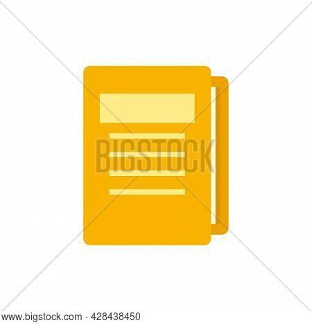 Tutor Lesson Folder Icon. Flat Illustration Of Tutor Lesson Folder Vector Icon Isolated On White Bac