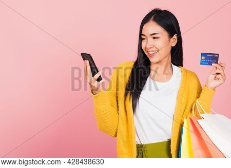 Portrait Asian Happy Beautiful Young Woman Shopper Smiling Standing Excited Holding Online Shopping