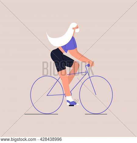 A Cartoon Girl In Medical Face Mask Is Riding A Bicycle. Eco-friendly Urban Transport. Lifestyle Aft