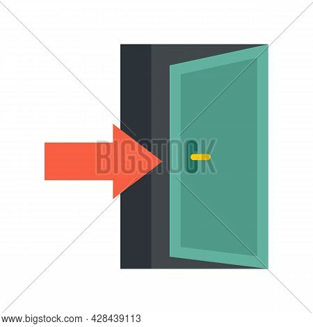 Apartment Entrance Icon. Flat Illustration Of Apartment Entrance Vector Icon Isolated On White Backg