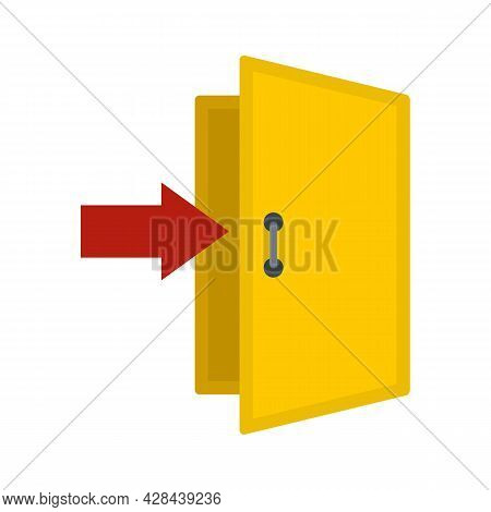 Enter Door Icon. Flat Illustration Of Enter Door Vector Icon Isolated On White Background