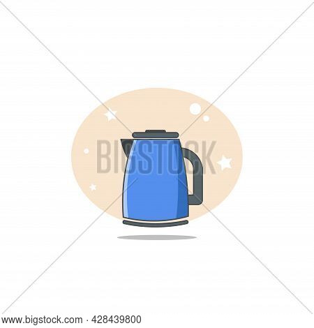 Electric Kettle Clipart. Electric Kettle Simple Vector Clipart. Electric Kettle Isolated Clipart.