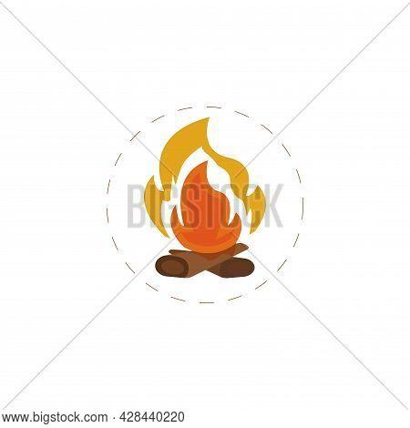 Bonfire Clipart. Fire Simple Vector Clipart. Bonfire Isolated Clipart.
