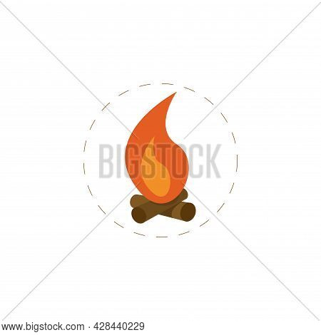Fire Clipart. Bonfire Simple Vector Clipart. Bonfire Isolated Clipart.