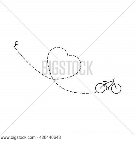 Bike Mileage In Heart Shape. Bicycle And Route Love Sign. Travel Destination Symbol. Vector Isolated