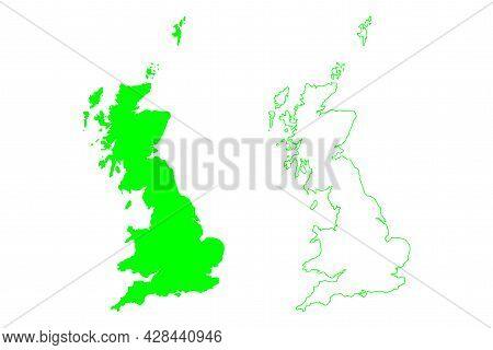 Great Britain Island (kingdom Of Great Britain, British Isles, England, Scotland, Wales) Map Vector
