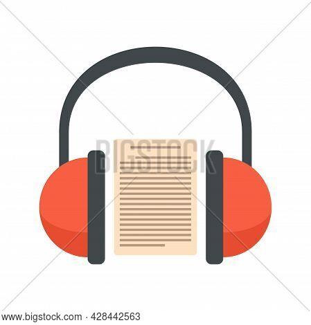 Headphones Audio Lesson Icon. Flat Illustration Of Headphones Audio Lesson Vector Icon Isolated On W
