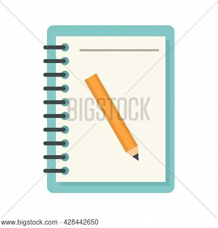 Lesson Pencil Notebook Icon. Flat Illustration Of Lesson Pencil Notebook Vector Icon Isolated On Whi