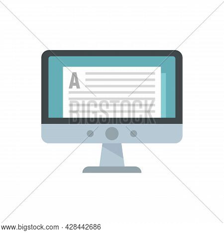 Online Computer Lesson Icon. Flat Illustration Of Online Computer Lesson Vector Icon Isolated On Whi