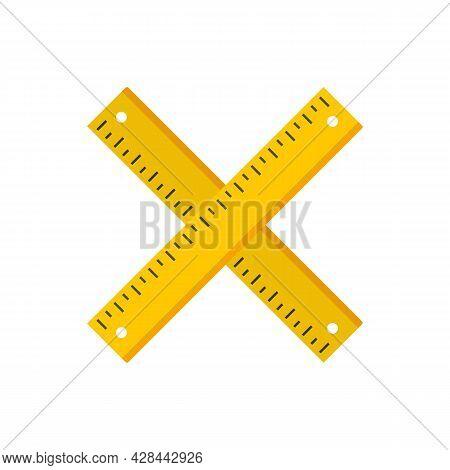 Crossed Wood Ruler Icon. Flat Illustration Of Crossed Wood Ruler Vector Icon Isolated On White Backg