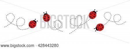 Cartoon Ladybug Icon Set. Ladybugs Flying On Dotted Route. Vector Isolated On White Background.
