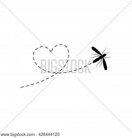 Cute Mosquito With Dotted Line Route. Black Mosquito Flying In Heart Shape. Vector Illustration Isol