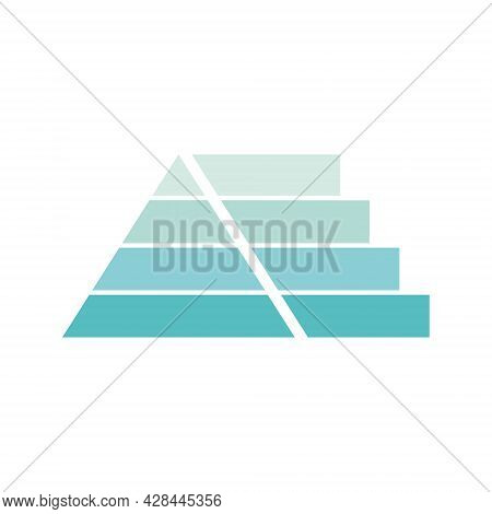 Pyramid Infographic Template With Four Levels. Triangle Data Segments. Blue Layout With 4 Charts For