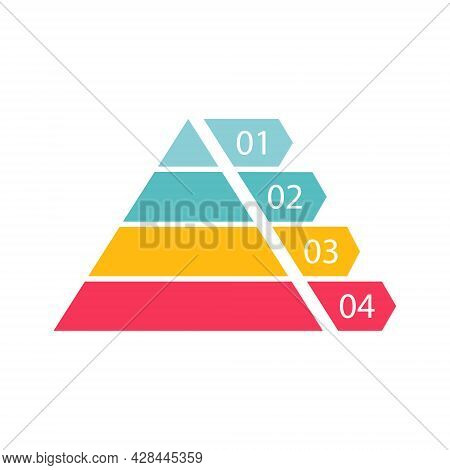 Pyramid Infographic Template With Four Colorful Levels. Triangle Data Segments. Colour Layout With 4