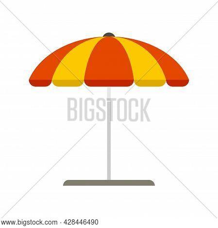 Beach Umbrella Icon. Flat Illustration Of Beach Umbrella Vector Icon Isolated On White Background