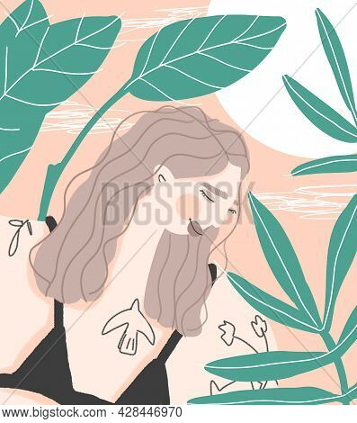 Boho Summer Colors Print With Young Sunbathing Woman In The Thickets
