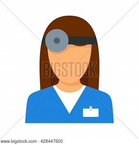 Eye Examination Doctor Icon. Flat Illustration Of Eye Examination Doctor Vector Icon Isolated On Whi