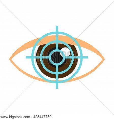 Target Eye Examination Icon. Flat Illustration Of Target Eye Examination Vector Icon Isolated On Whi