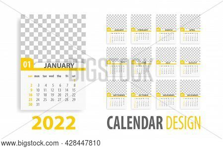Annual Desk Monthly Calendar Template For 2022 Year. Vector Schedule Daily Planner 2022 Year. Modern