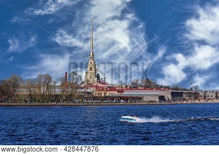 View Of The Peter And Paul Fortress On The Neva River In St. Petersburg