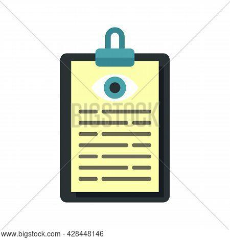 Eye Examination Card Icon. Flat Illustration Of Eye Examination Card Vector Icon Isolated On White B