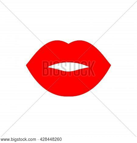 Lips Illustration. Vector Icon. Symbol Isolated On White. Cool Sexy Kiss. Silhouette Sign For Logo,
