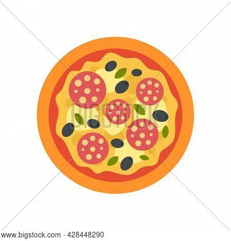 Olive Italian Pizza Icon. Flat Illustration Of Olive Italian Pizza Vector Icon Isolated On White Bac