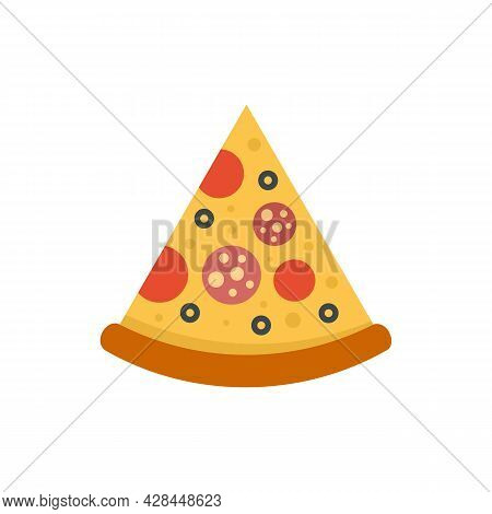 Tasty Pizza Slice Icon. Flat Illustration Of Tasty Pizza Slice Vector Icon Isolated On White Backgro