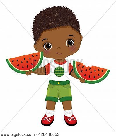 Happy Little Black Boy Holding Slices Of Watermelon. Cute Boy Is Curly. African American Boy With Wa