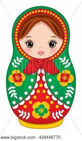 Beautiful Traditional Russian Matryoshka In Red And Green Colours. Vector Babushka Doll. Matryoshka