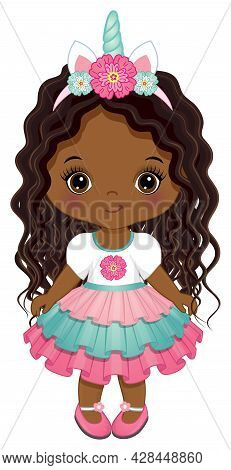 Cute Unicorn Black Baby Girl Is Curly With Long Hair, Wearing Horn With Flower And Ruffled Dress. Af