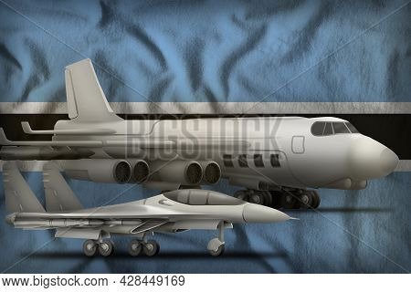 Air Forces On The Botswana Flag Background. Botswana Air Forces Concept. 3d Illustration