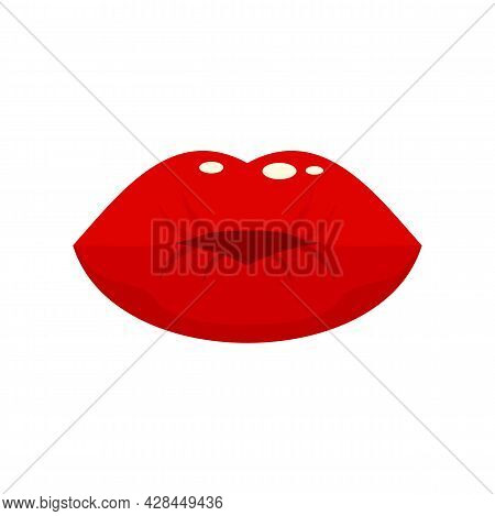Hot Kiss Icon. Flat Illustration Of Hot Kiss Vector Icon Isolated On White Background