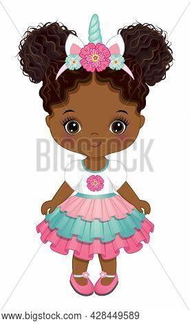 Cute Unicorn Black Baby Girl Has Two Buns. African American Unicorn Baby Girl Wearing Pink Dress And